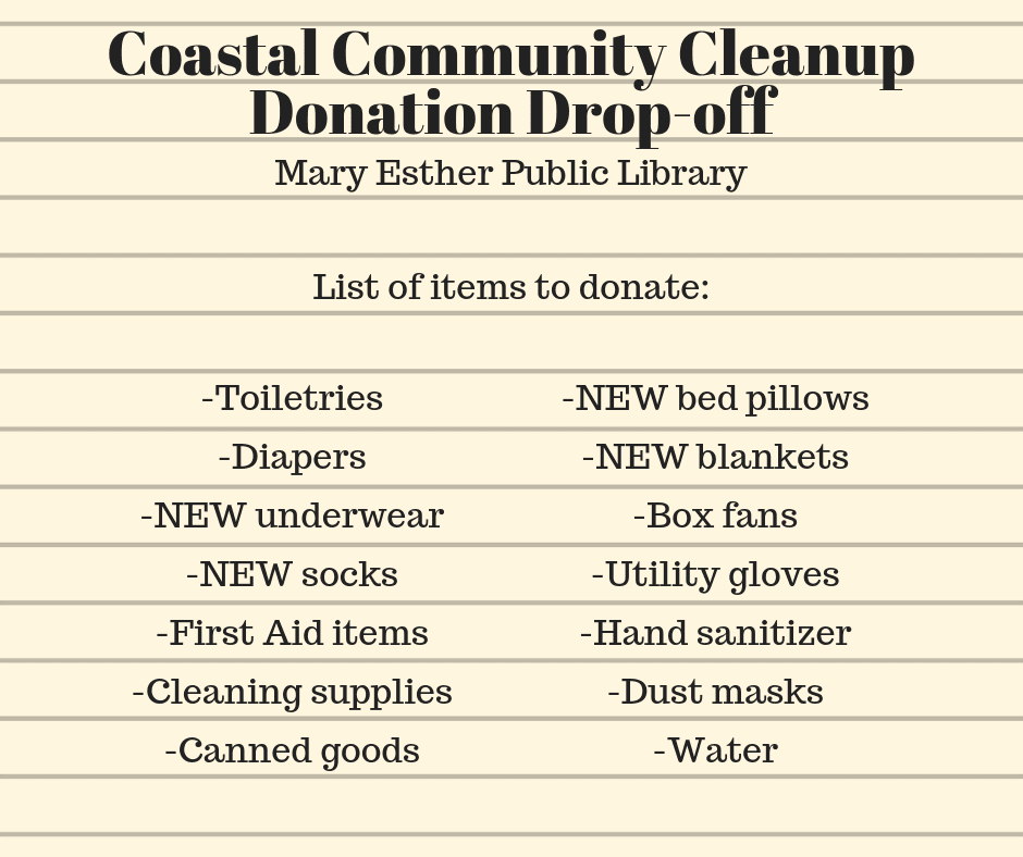 Coastal Community Cleanup Donation Drop-off List